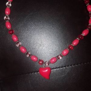 Red beaded Necklace with Red Bubble Heart pendant